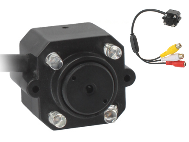 NTR CAM04 CMOS mini kamera MIC, 4db infra LED, 380TVL, 9V DC, 1xRCA video, 1xRCA audio