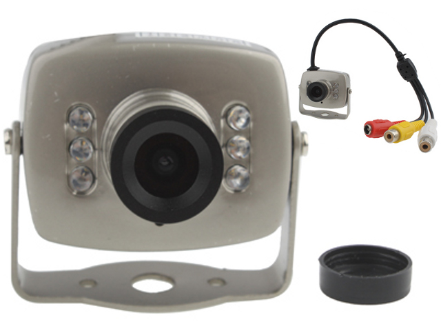 NTR CAM07SI CMOS mini fémházas kamera MIC, 6 IR LED, 380TVL, 9V DC, 1xRCA video, 1xRCA audio